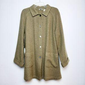 J.Jill Wool Woven Slub Knit Button Up Jacket 1X